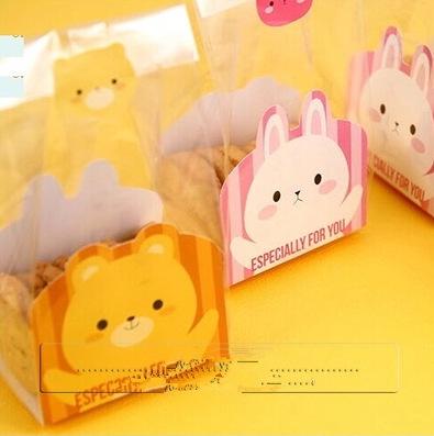 ถุงเบเกอรี่ ถุงขนม ถุงจีบข้าง 100 ใบ/ห่อ (กระดาษรูปหมีรองด้านใน) 8.5+6*23cm