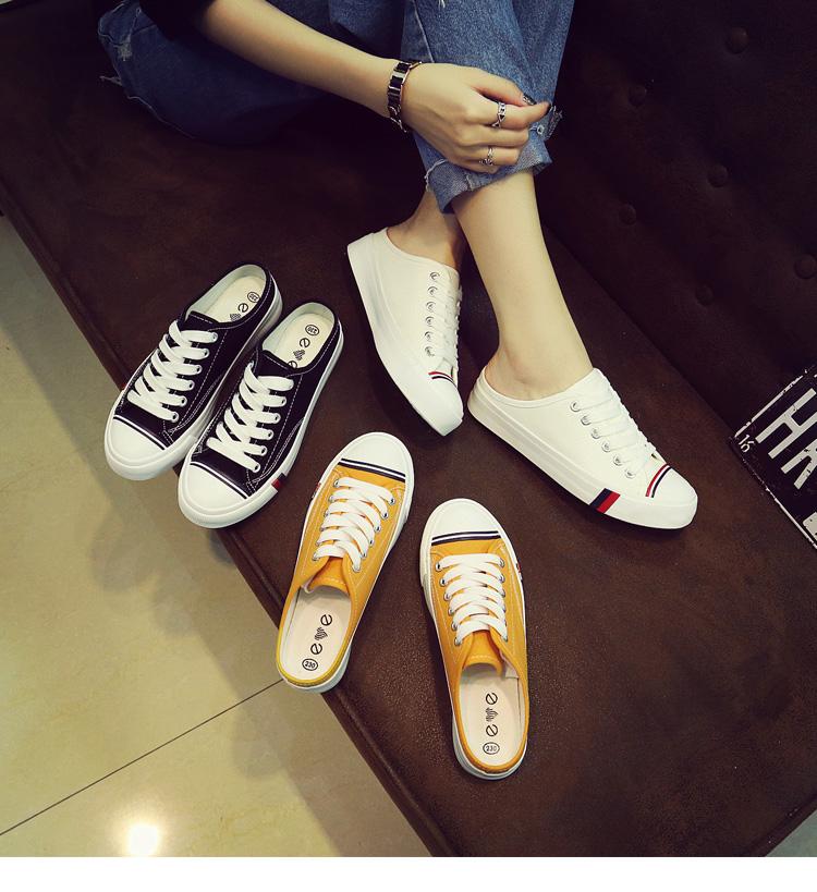 fashion รองเท้าผ้าใบเปิดส้นหญิง รหัส 68276 (รอสินค้า 15-20วัน)
