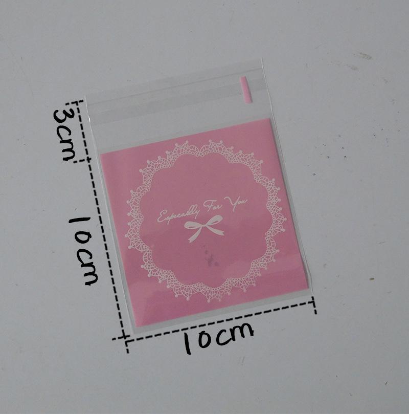 ถุงเบเกอรี่ ถุงขนมปัง แบบมีเทปกาว รูปลูกไม้สีชมพู 100 ใบ/ห่อ (10*10+3 cm.)