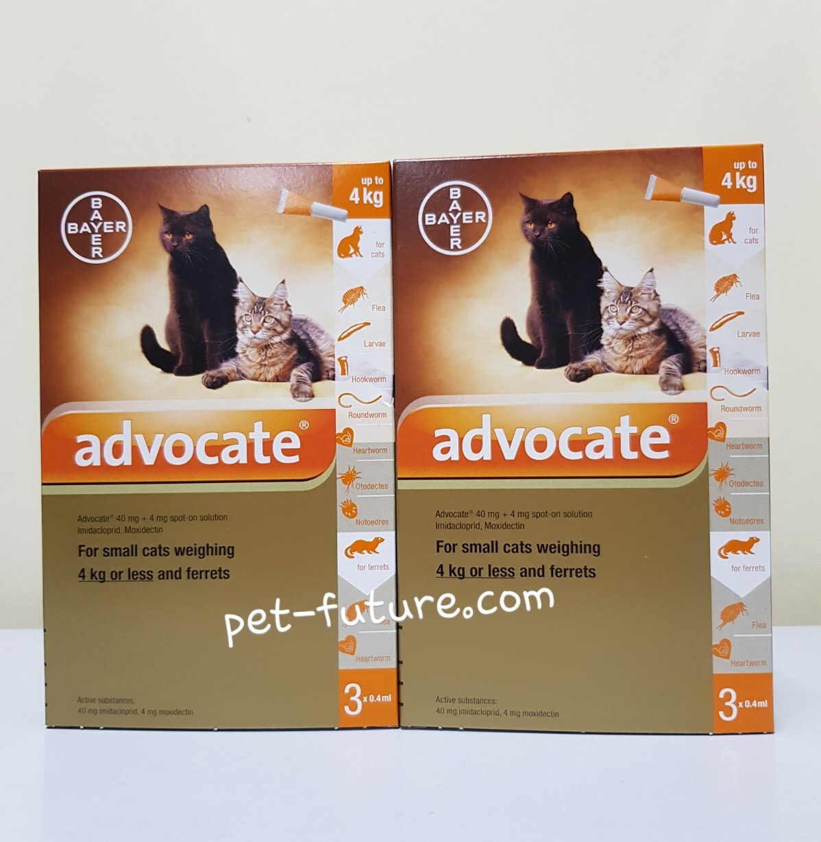 Advocate สำหรับแมว นน.0-4 kg. Exp.01/20 (จำนวน 2 กล่อง)