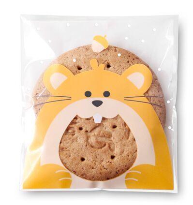 ถุงเบเกอรี่ ถุงขนมปัง แบบมีเทปกาว รูปหนู 100 ใบ/ห่อ (10*10+3 cm.)