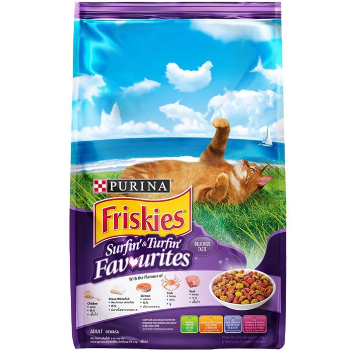 ฟริสกี้ส์ เซิร์ฟฟิ่ง แอนด์ เทิร์ฟฟิ่ง อาหารแมวสูตรปลาทูน่า และซาร์ดีน ขนาด 450 กรัม