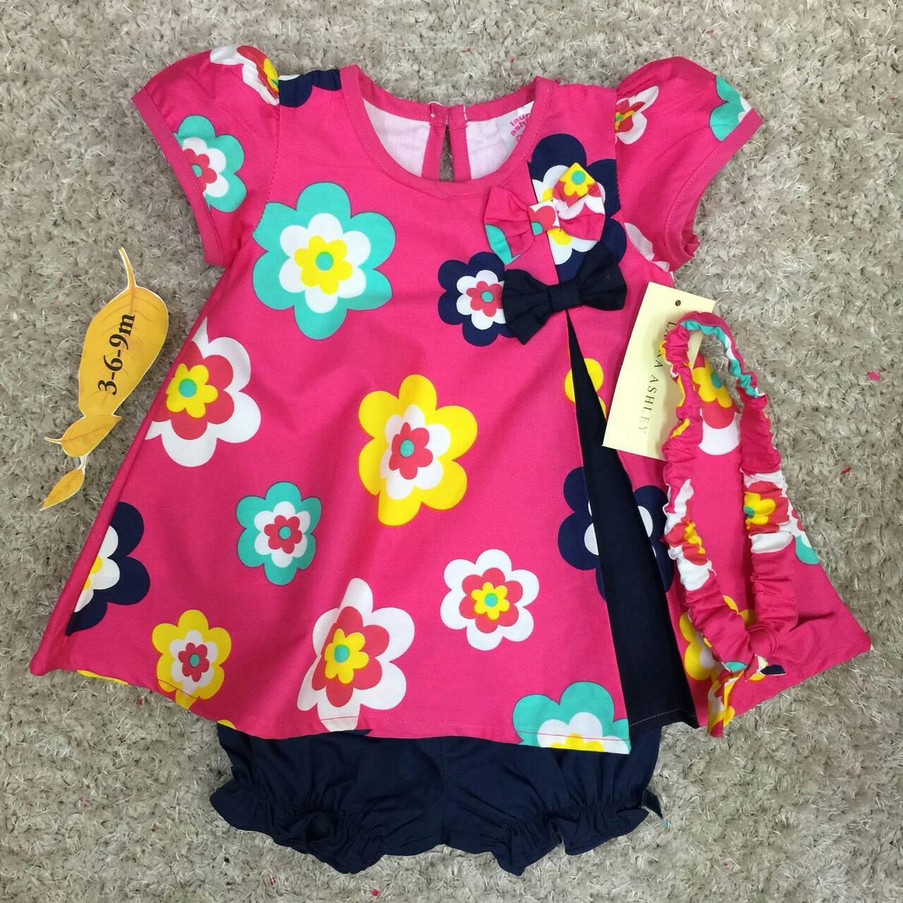 เสื้อผ้าเด็ก เซต 3ชิ้น ขาสั้น แรกเกิด-9 เดือน size 3m-6m-9m ลายดอกไม้ สีบานเย็น