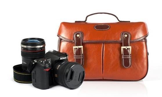 กระเป๋ากล้องหนังPU สีน้ำตาลแดง