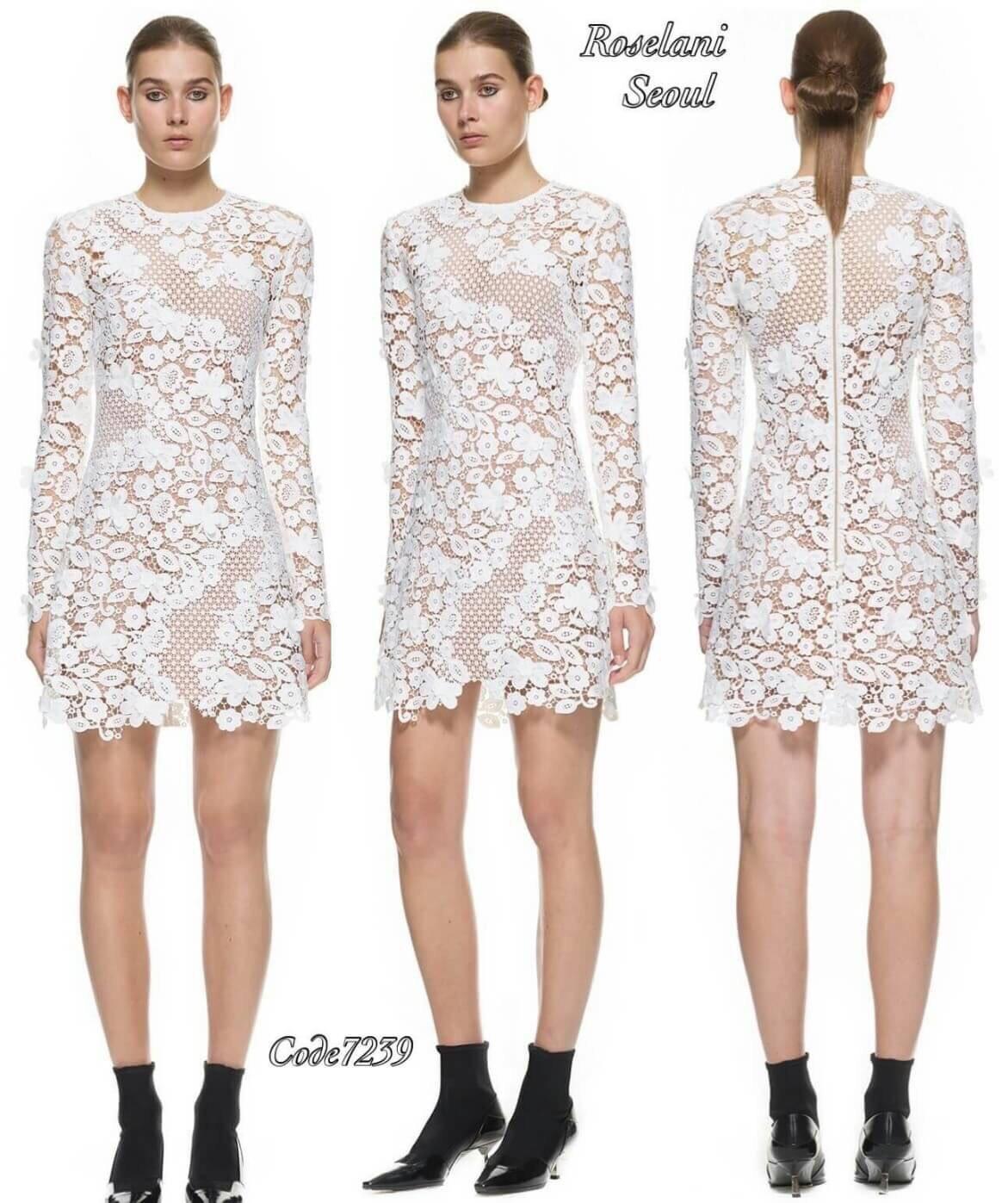 3d floral mini dress ชุดเดรสมินิลูกไม้ 3มิติ แขนยาว ลูกไม้ฉลุลายดอก