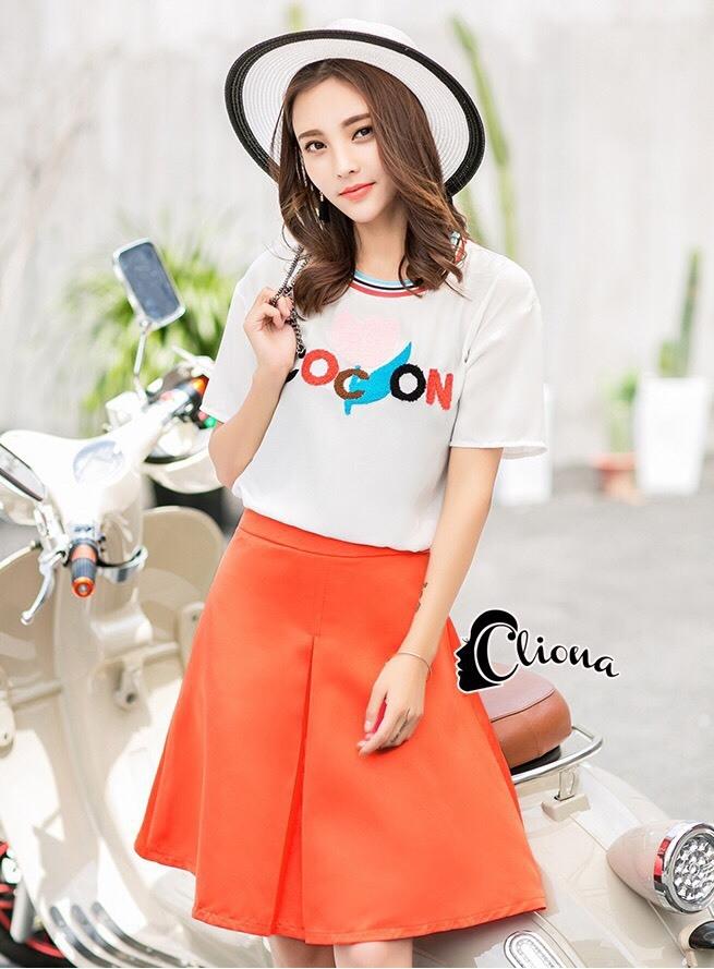 เสื้อผ้าเกาหลี พร้อมส่งCoCo Shirt + Skirt Pant Set