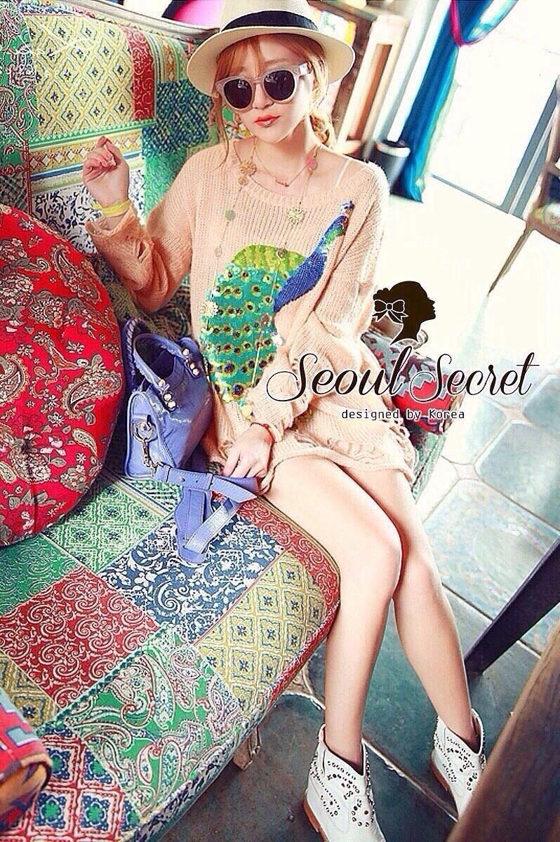 Peafowl Blue Emerald Bear Dazzling Silk Wool Blouse