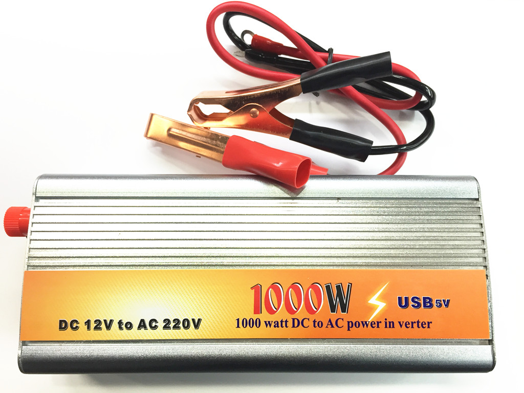 ตัวแปลงไฟใช้กับรถยนต์ Inverter 1000w เป็น DC12v To AC220v -Silver