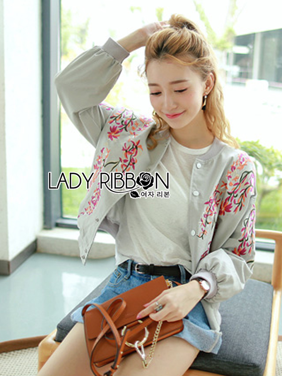 Grazia Sporty Flower Embroidered Cotton Bomber Jacket