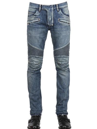 กางเกงBalmain Blue Dirty Stretch Biker Jeans