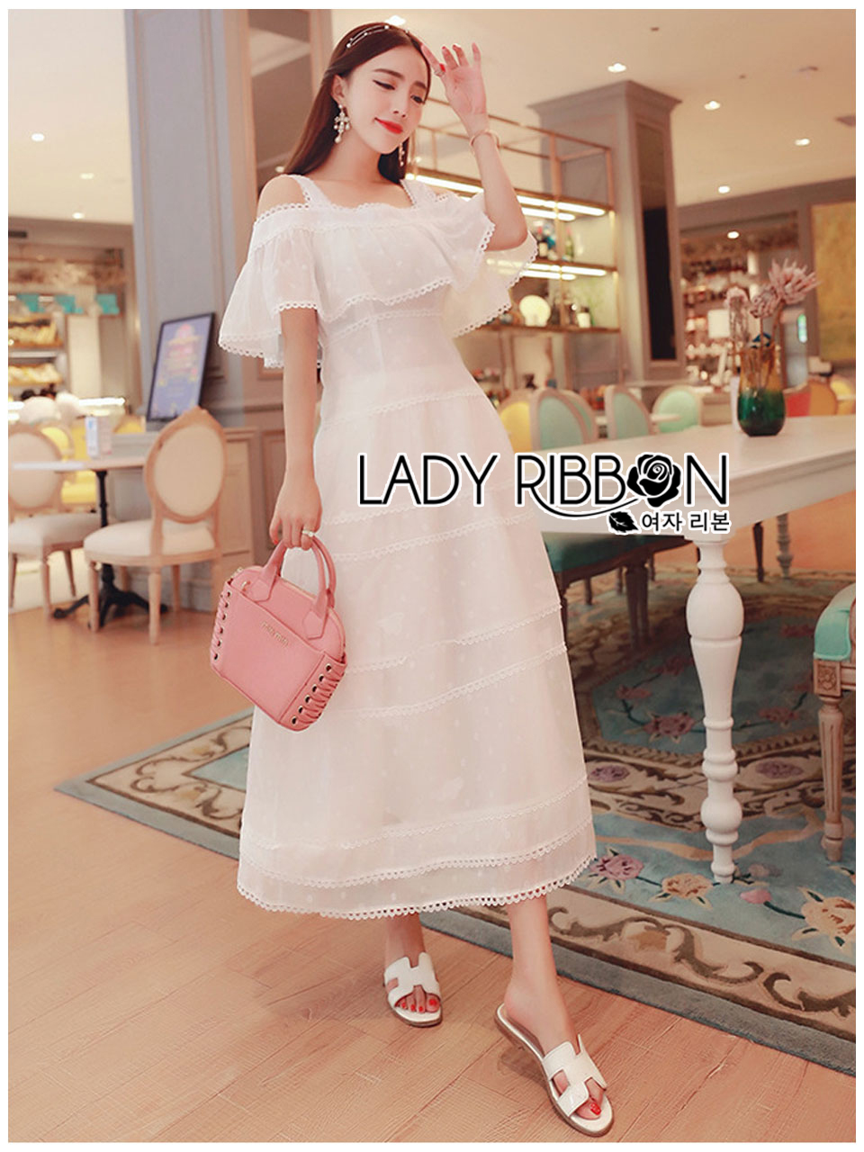 Lisa Royal Pure White Cotton Lace Layered Dress