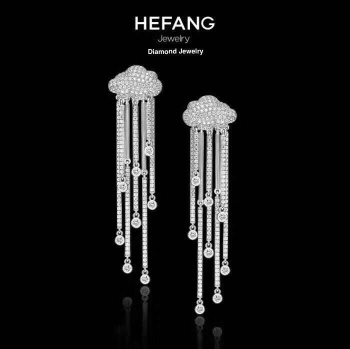 พร้อมส่ง Hefang Jewelry ต่างหูเพชรแบรน Hefang