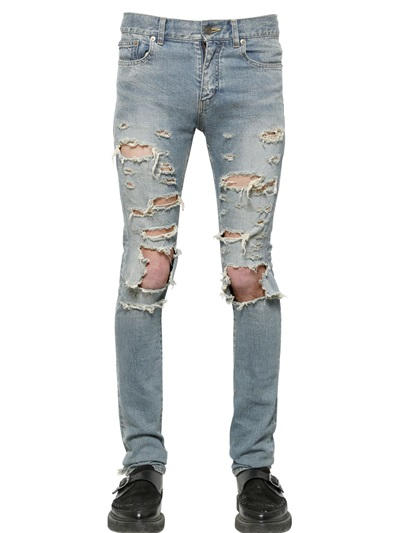 กางเกงยีนส์Saint Laurent Skinny Destroyed Denim
