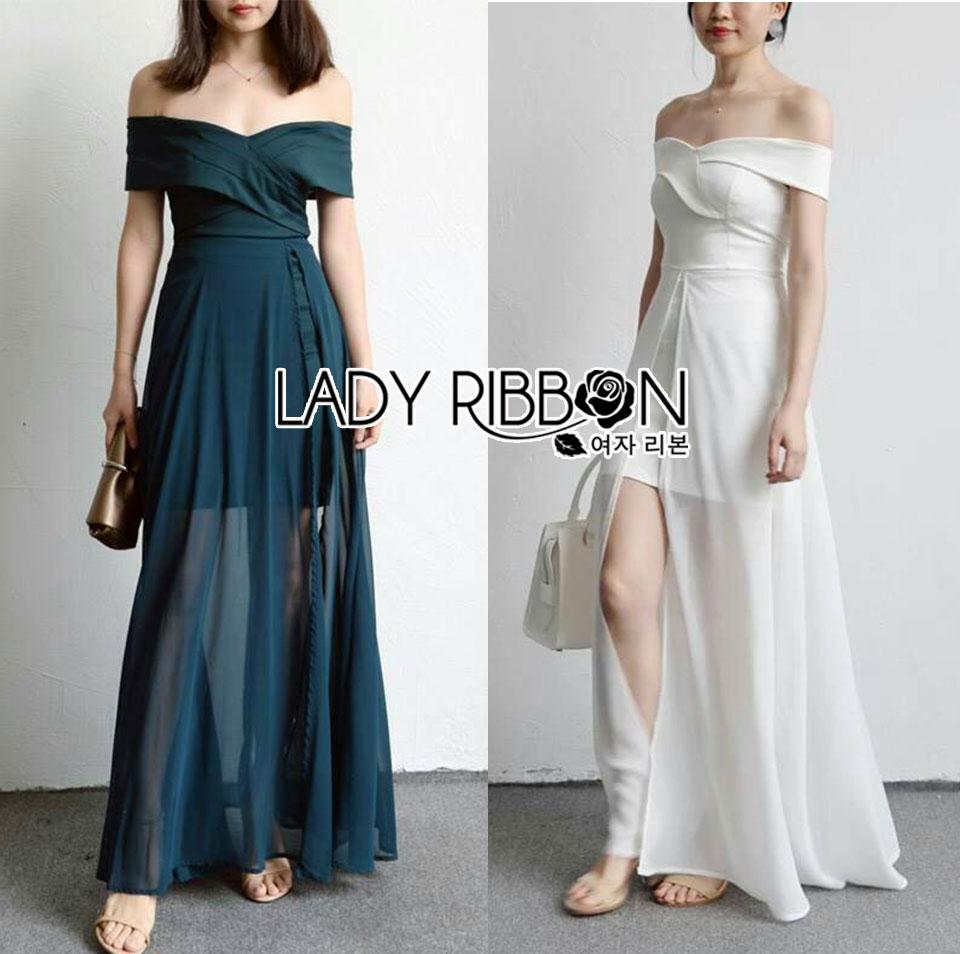 Lizzy Twist Off-Shoulder Chiffon Maxi Dress