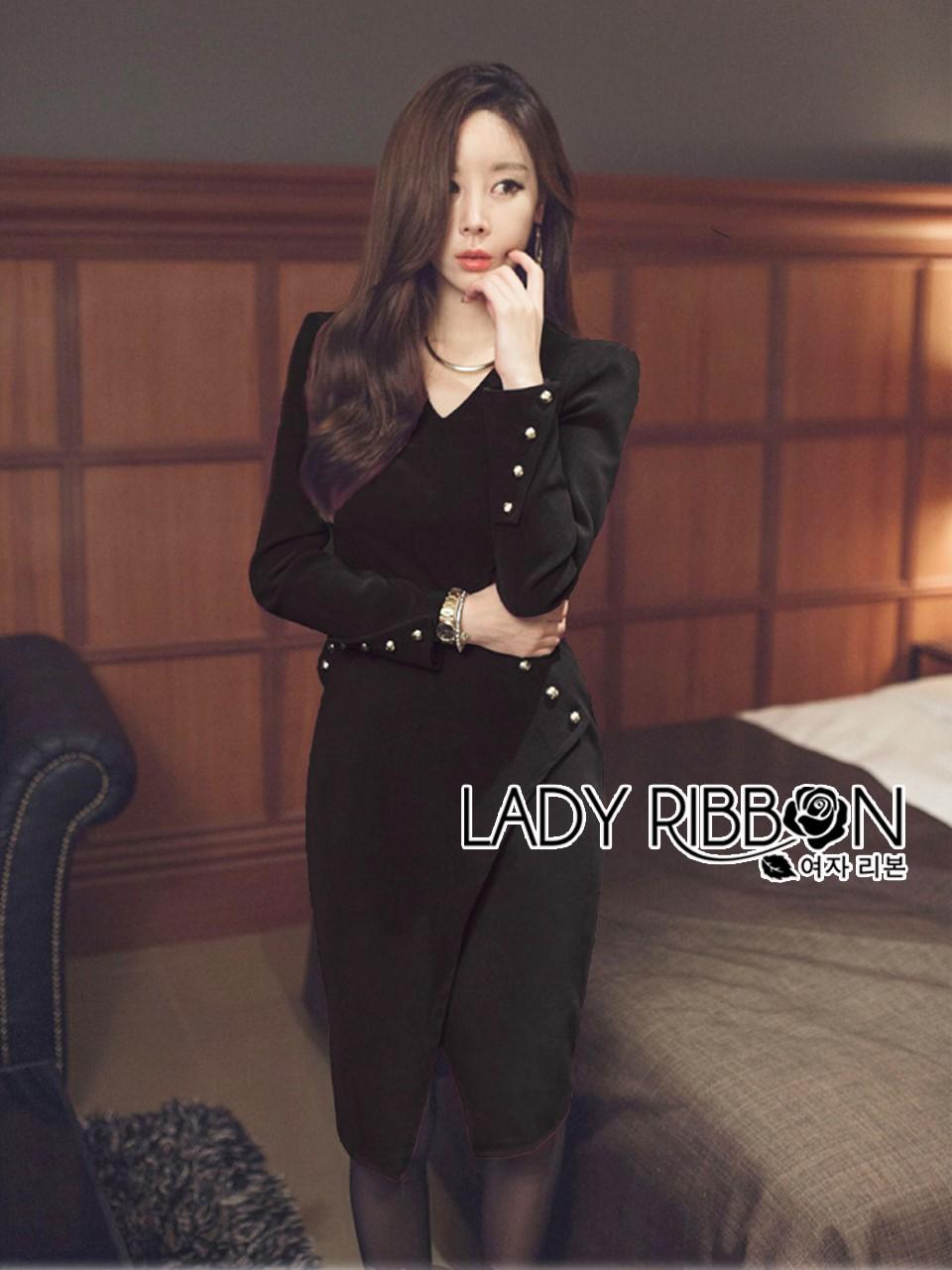 Rachel Smart & Golden buttons Sexy Black Dress