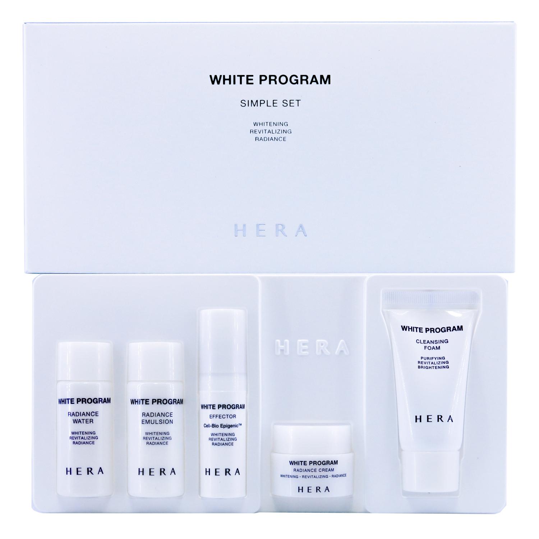 Hera White Program Simple Set 5 Items เซ็ตบำรุงผิว 5 ขั้้นตอน สูตรเพื่อผิวขาวใสแบบครบขั้นตอน ช่วยฟื้นฟูสภาพผิวอย่างอ่อนโยน เพื่อผิวกระจ่างใสอย่างเป็นธรรมชาติ