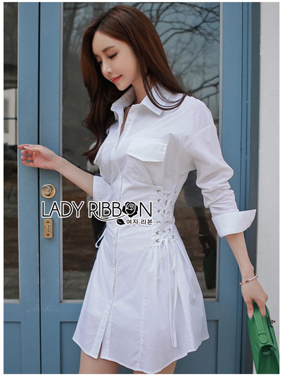 เสื้อผ้าเกาหลีพร้อมส่ง เชิ้ตเดรสผ้าคอตตอนสีขาวตกแต่งเชือกผูกด้านข้าง