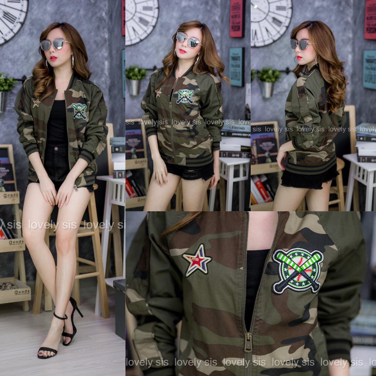 เสื้อผ้าเกาหลีพร้อมส่ง เสื้อคลุมตัวยาว แขนยาวทูโทนลายทหาร