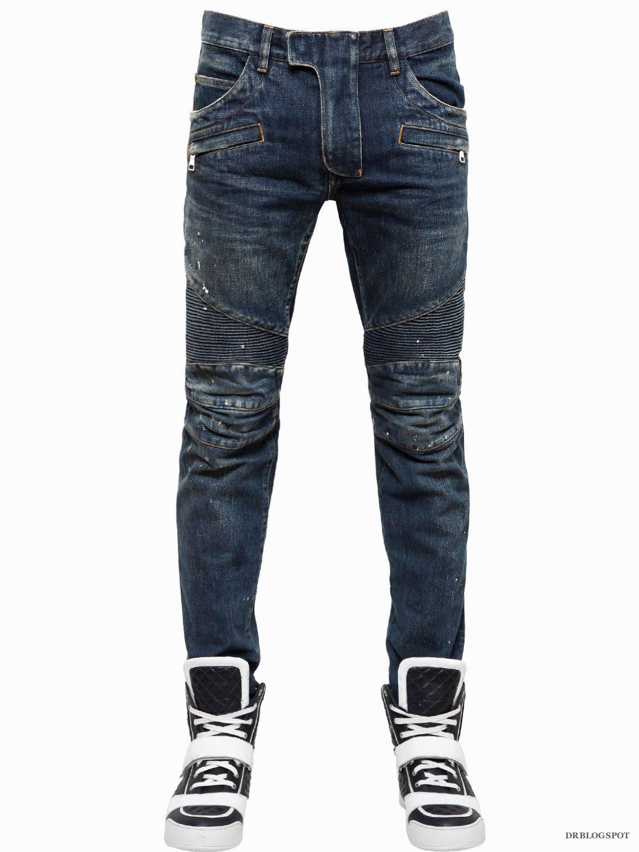 กางเกงยีนส์Balmain Painted Biker Jeans
