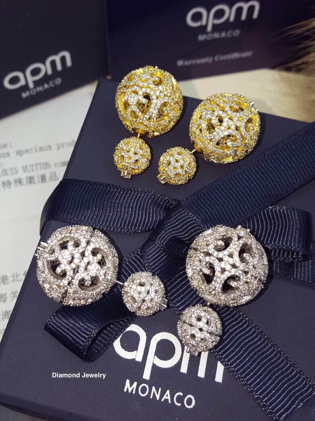 APM Earring ต่างหูเพชร CZ แท้แบรนด์ APMพร้อมส่ง