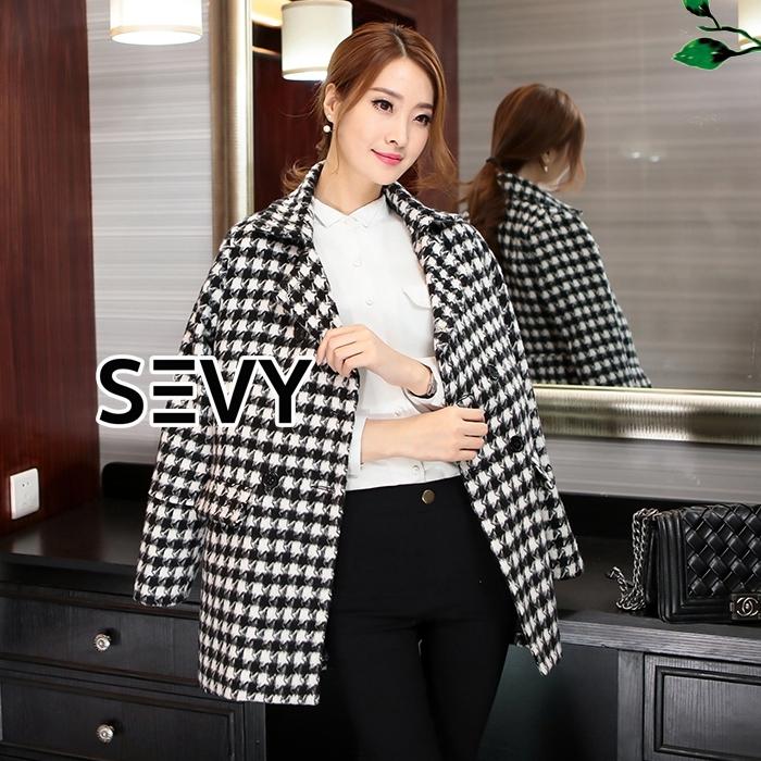 Korea Houndstooth Woolen Coat