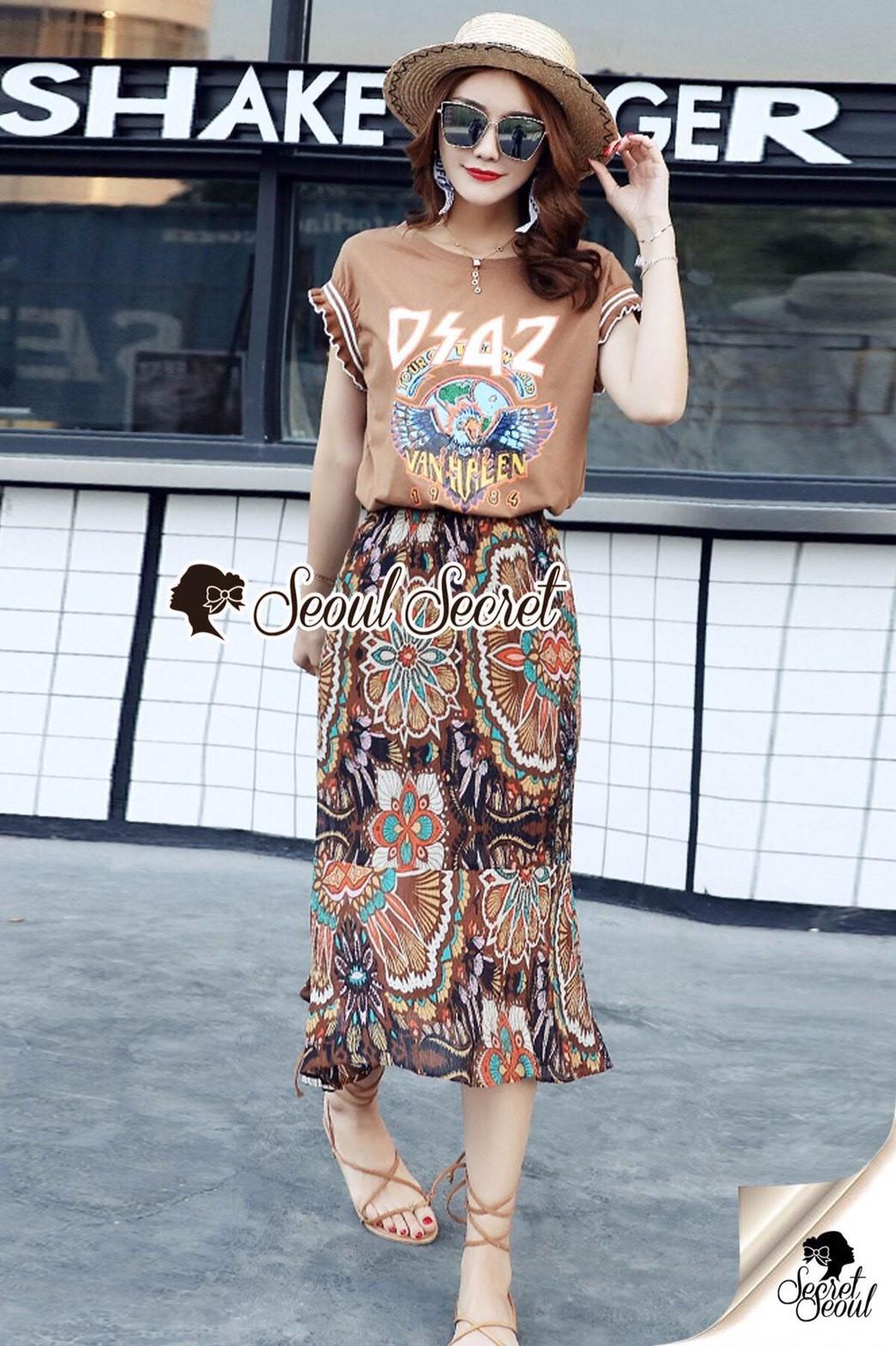 เสื้อผ้าเกาหลีพร้อมส่ง Chic DSAZ Vanhalen Browny Color Set