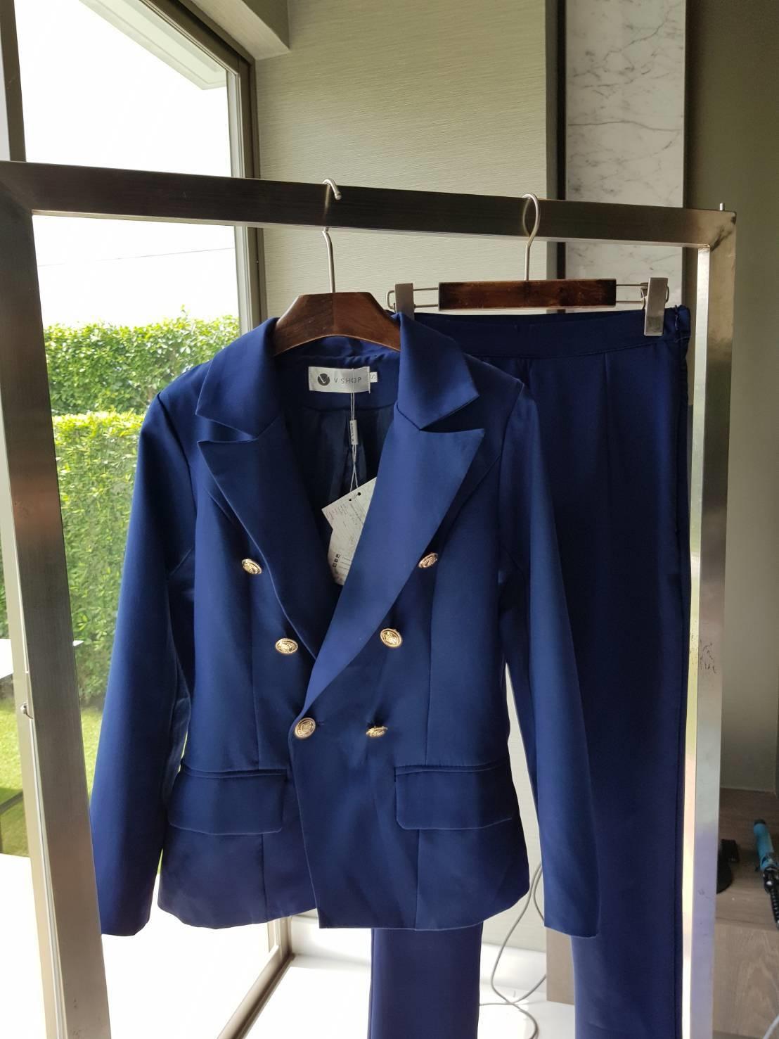 Set เสื้อสูท +กางเกง ตัวเสื้อสูทแต่งกระดุมโรมัน
