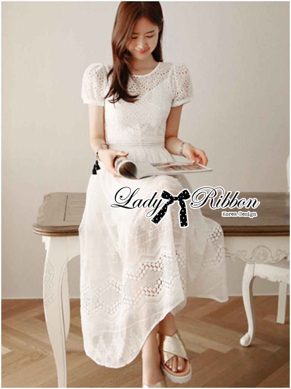 Grace Elegant Cotton Embroidered and Lace Chiffon Maxi Dress