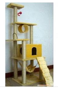 MU0077 คอนโดแมวหกชั้น ต้นไม้แมว มีบ้านอุโมงค์ เปลนอน บันได ของเล่นแขวน สูง 182 cm