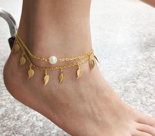 สร้อยข้อเท้าใบไม้สีทองประดับไข่มุก เกาหลี