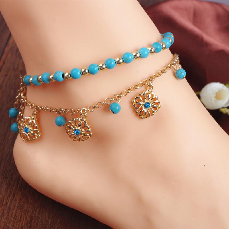 สร้อยข้อเท้าเกาหลี BOHO Beads foot ornaments