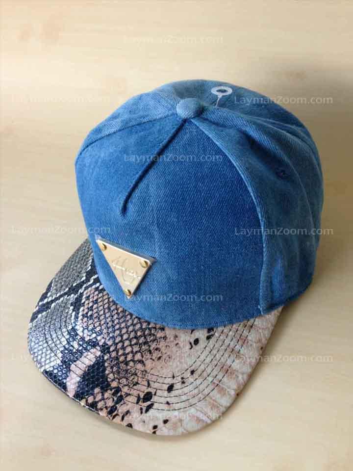 หมวกแก๊ปทรงฮิปฮอป ผ้ายีนส์ ปีกลาย(หนัง)