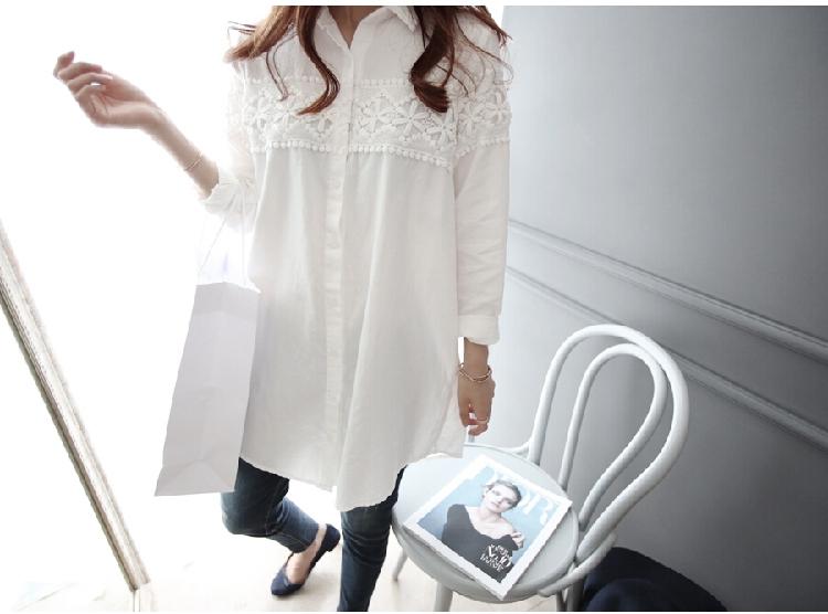 เสื้อเชิ้ตยาวแต่งลูกไม้คาดรอบอกและแขน สีขาว