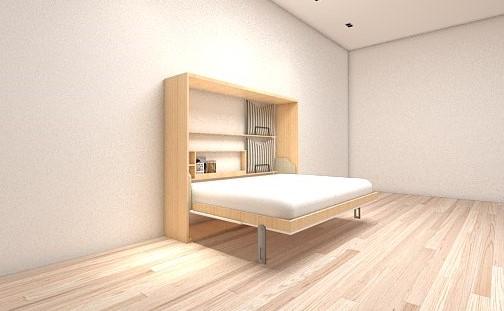 เตียงพับ รุ่น Spazio ขนาด 5 ฟุต แนวนอน(พร้อมที่นอน แบรนด์ Hermes หนา 7นิ้ว