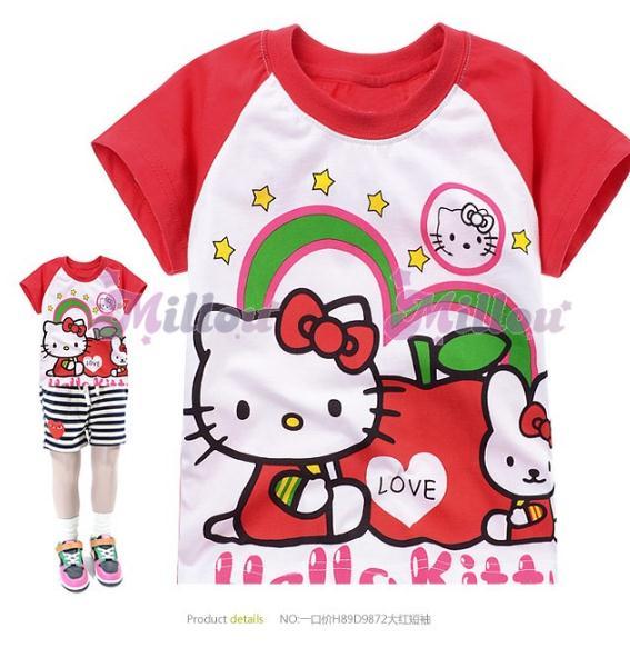 เสื้อแขนสั้น สีแดง Hello Kitty