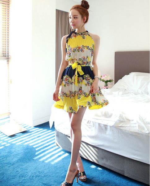 dress เดรสแฟชั่นเกาหลี แขนกุด ใส่ทำงาน ลายดอกไม้ สีเหลือง อัดพลีท วินเทจ ใส่ไปงานแต่งงาน สวย