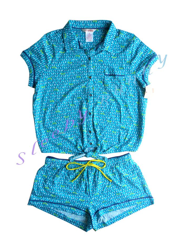 ขายแล้วค่ะ bs2 ชุดนอนเสื้อ+กางเกงขาสั้น สีฟ้าน้ำทะเล Size M --> no boundaries