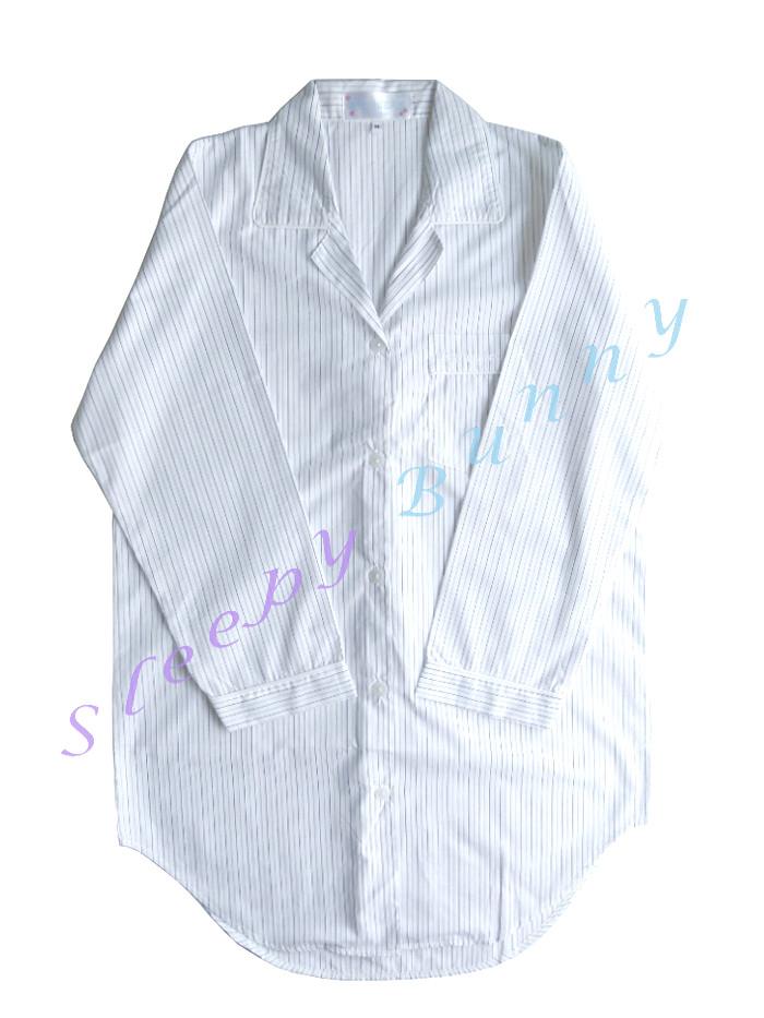 ขายแล้วค่ะ ds9 ชุดนอนเดรสเชิ้ตสีขาว ลายทางสีดำ เทา Size S