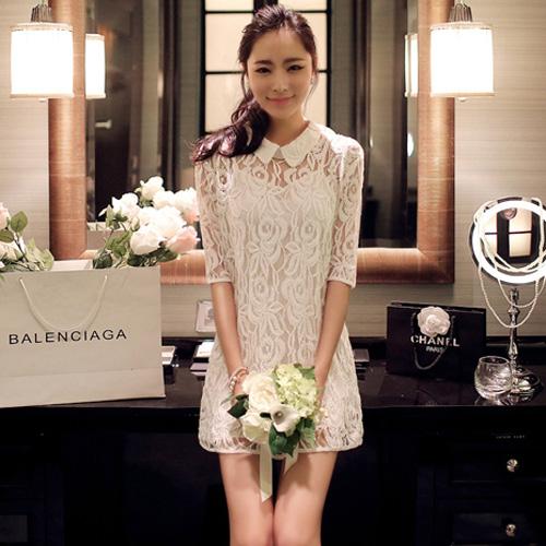 dress เดรสคอปก ผ้าลูกไม้ สีขาว น่ารัก ใส่ทำงาน ใส่ออกงานได้ สวยๆ Asia Street Fashion