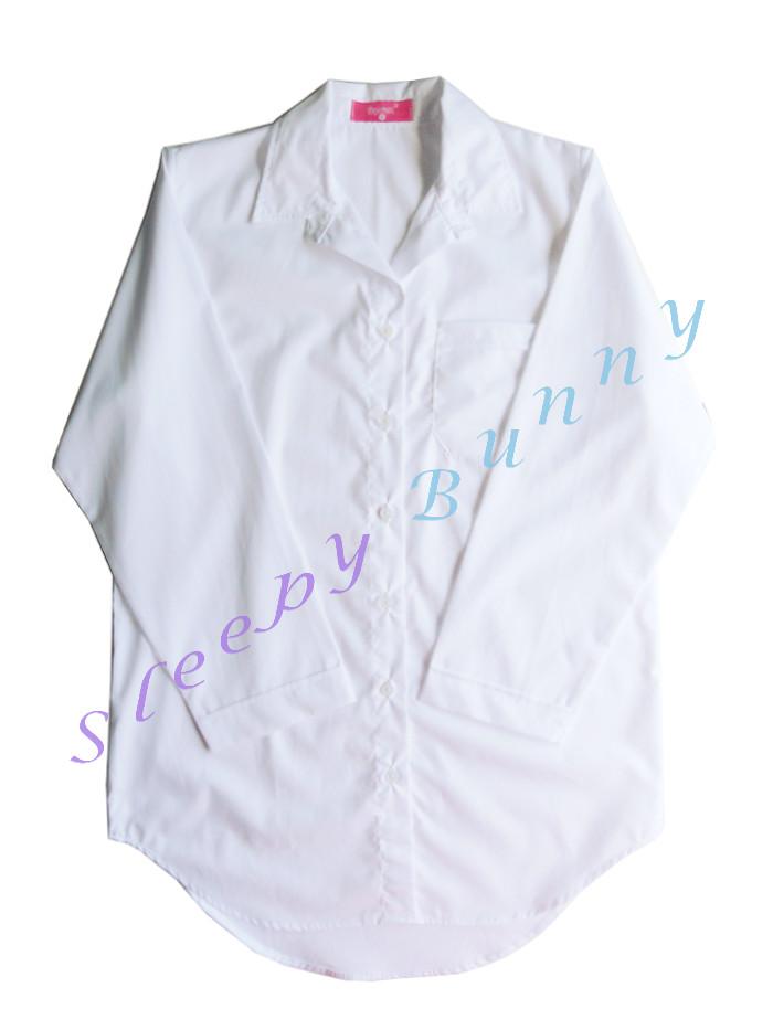 ขายแล้วค่ะ ds38 lot3 ชุดนอนเดรสเชิ้ตสีขาวไซส์ใหญ่ Size L --> Pajamazz