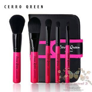 ชุดแปรงแต่งหน้า พร้อมกระเป๋าเก็บอย่างดี Cerro Qreen full fiber loaded brush set/5ชิ้น - Pink