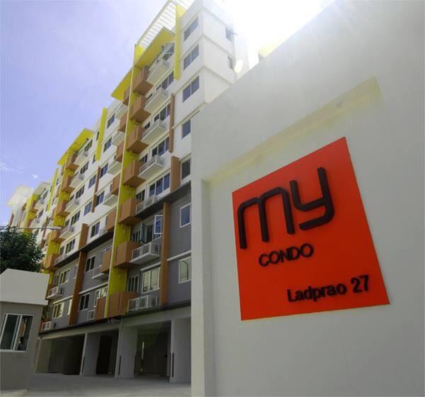 ขายคอนโด My Condo Ladprao 27 แบบ 1 ห้องนอน 1 ห้องนั่งเล่น 1 ห้องครัว 1 ห้องน้ำ มีระเบียง ชั้น 7 ตึก B ห้องมุม พื้นที่ใช้สอย 35 ตรม. ราคา 2.4 ล้าน ค่าโอนคนละครึ่ง