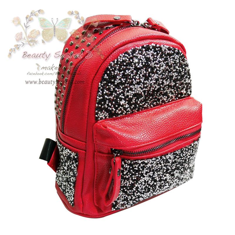 กระเป๋าเป้ แฟชั่น กระเป๋าเป้สะพายไหล่-สะพายหลัง กระเป๋าเดินทาง ประดับกากเพชร Beautysecretd Leather Daimond Dust Handle Backpack