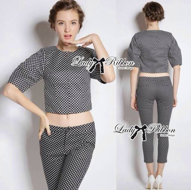Lady Ribbon's Made Lady Clara Polka Dot Zip-Up Jacket and Pants Set