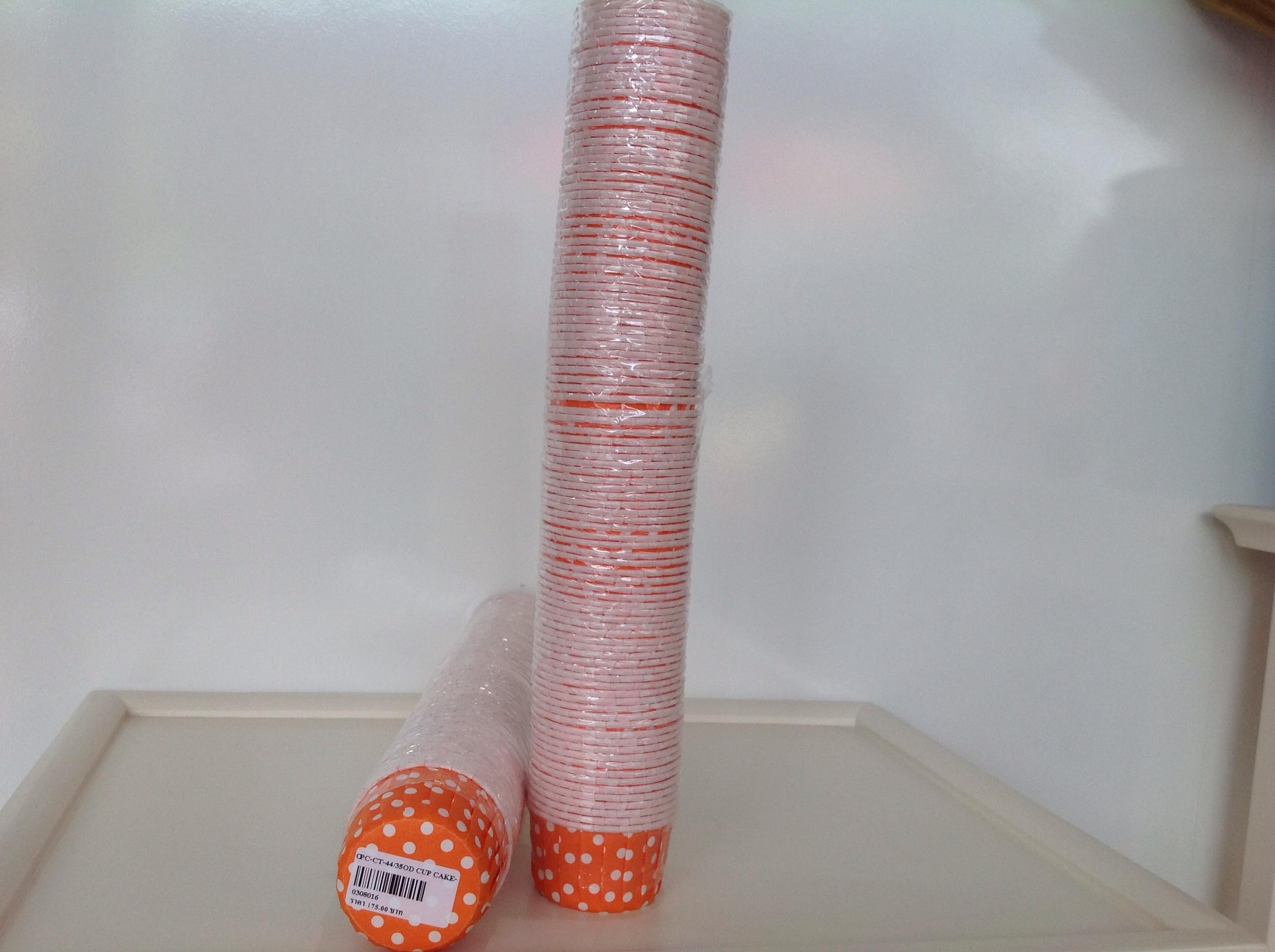 PC-CT-44/35OD Cup cake orange dot (ส้มจุด) กว้าง 6 ซม.สูง 3.5 ซม.