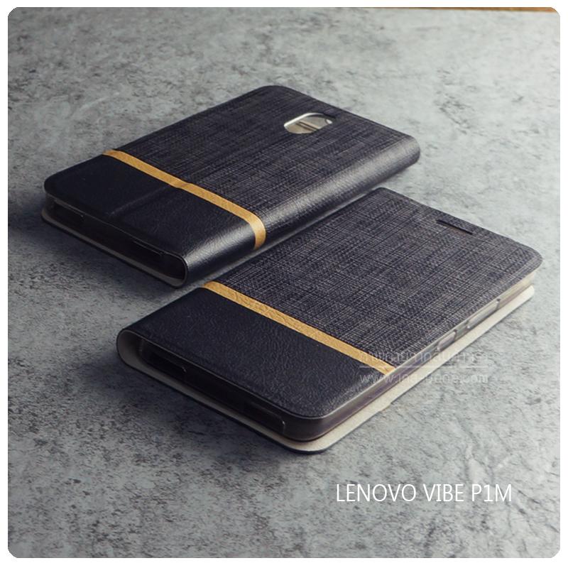 เคส Lenovo Vibe P1m (TRUE Lenovo 4G Vibe P1m) เคสฝาพับหนัง PVC มีช่องใส่บัตร สีดำ