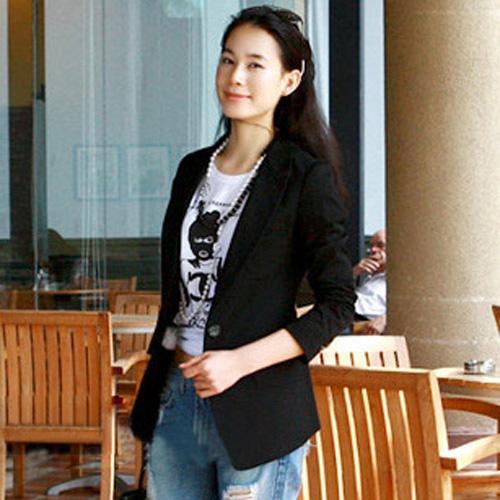 Suit เสื้อสูทตัวยาว แขนยาว กระดุมหน้า สีดำ ใส่ทำงาน ใส่เป็นสูทลำลองได้ Asia Street Fashion