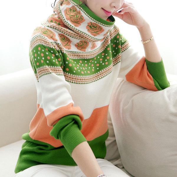 QW5804004 เสื้อกันหนาวเกาหลี ไหมถักลายวินเทจ สีสดใจ คอสูง แขนยาว (พรีออเดอร์) รอ 3 อาทิตย์หลังโอนเงิน