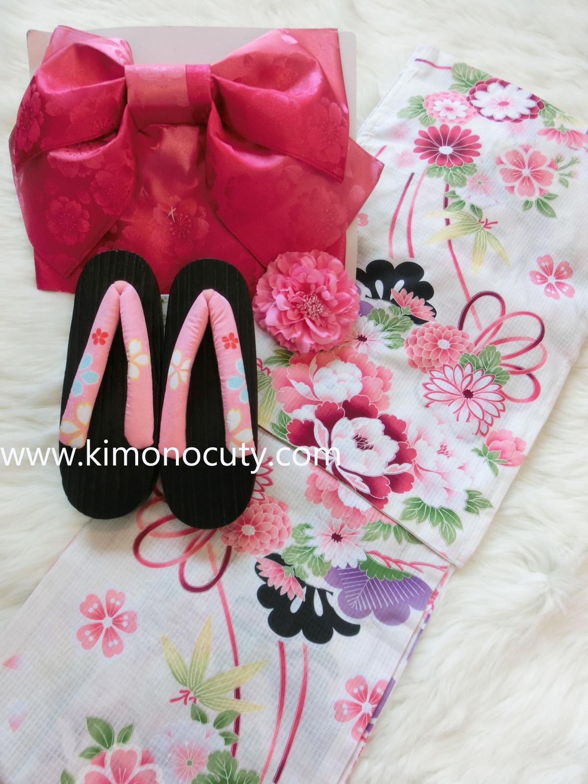 Summer kimono กิโมโนฤดูร้อน (Yukata) Spring Flower สีชมพู รุ่น 2 เซต 2 ชิ้น