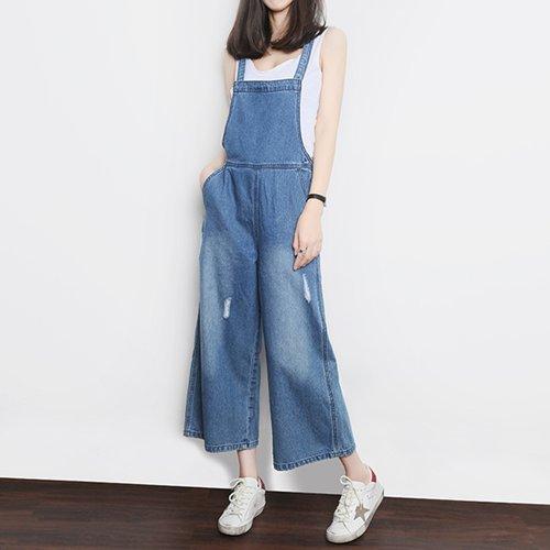 OW6005010 เอี้ยมกางเกงยีนส์ขากว้างย้อนยุคสีฟ้าอ่อนเกาหลี (พรีออเดอร์) รอ 3 อาทิตย์ หลังชำระเงิน